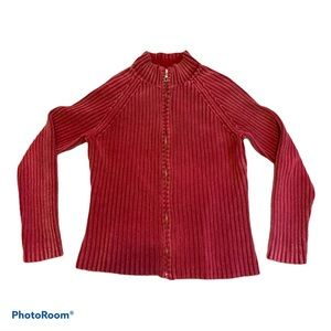 Sonoma Soft Knit Zip Up Red Sweater Size Medium